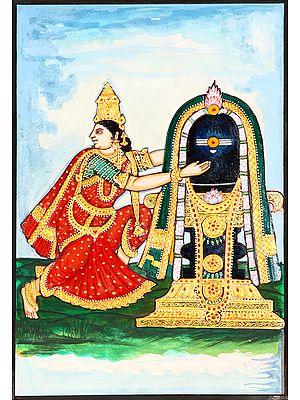 Goddess Parvati Embraces Shiva Linga
