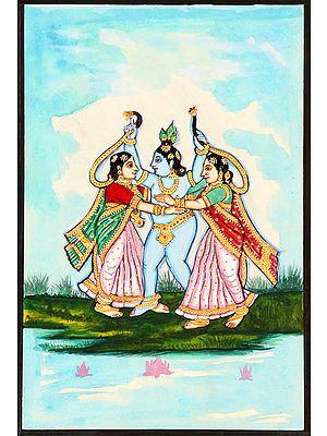 Shri Krishna Teasing Gopis