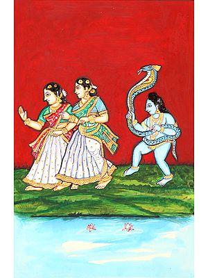 Shri Krishna Scaring Gopis