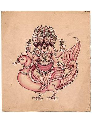 Lord Brahma Seated on Swan