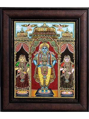 Shri Krishna with Rukmini and Satyabhama (Framed)