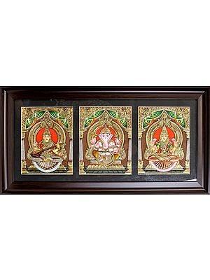 The Holy Trinity of Saraswati, Ganesha and Lakshmi Ji (Framed)