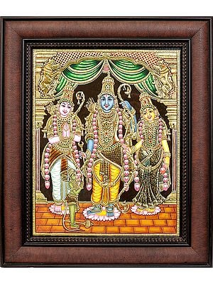 Shri Rama Ji with Sita Ji, Lakshman Ji and Hanuman Ji (Framed)