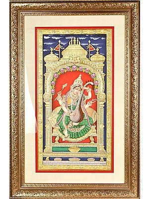 Superfine Goddess Saraswati Also Named Sharada, Playing on Vina (Framed)