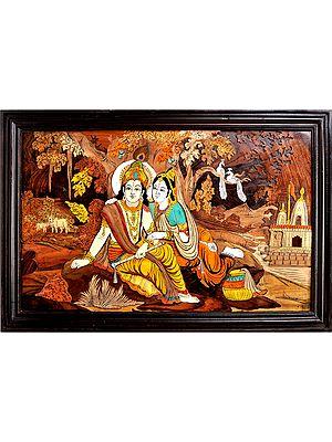 Radha Krishna in Vrindavana (Framed)