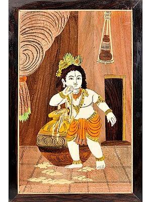 Makhan Chor Bala Krishna (Unframed)