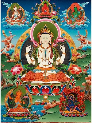 Tibetan Buddhist Large Size Chenrezig ( Four-Armed lokeshvara ) Superfine Quality