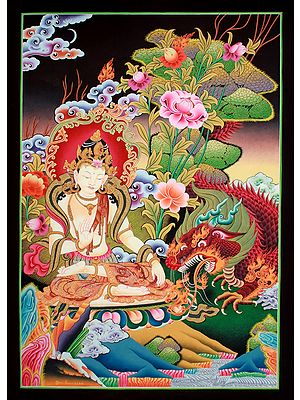 Superfine Indra - Tibetan Buddhist Brocadeless Thangka