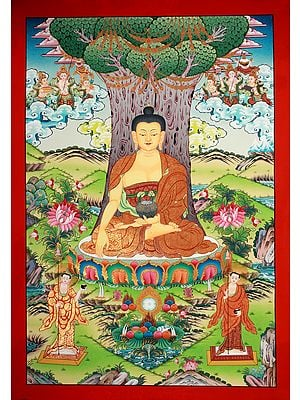 Superfine Gautam Buddha Seated Under The Bodhi Tree in a Beautiful Landscape - Tibetan Buddhist Brocadeless Thangka