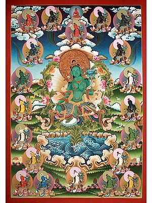 Superfine -Twenty Two Forms of Tibetan Buddhist Goddess Green Tara (Thangka Without Broacade)