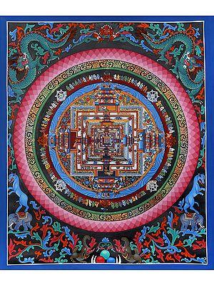 Tibetan Buddhist - The Kalachakra Mandala (Brocadeless Thangka)