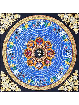 OM Mandala With Ashtamangala - Tibetan Buddhist