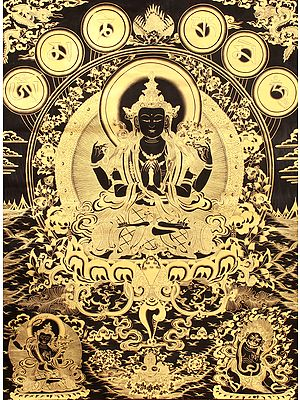 Tibetan Buddhist Four-Armed Avalokiteshvara (Super Large Chenrezig)