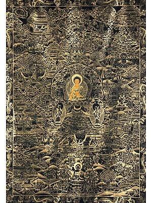 Large Size Shakyamuni Buddha and the Scenes From His Life - Tibetan Buddhist