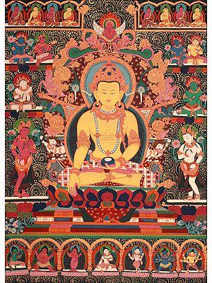 Tibetan Buddhist Dhyani Buddha Ratnasambhava with the Eight Bodhisattvas