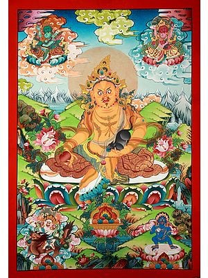 Superfine Tibetan Buddhist Deity Kubera - Brocadeless Thangka