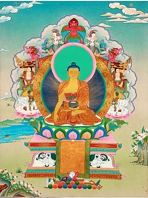 Tibetan Buddhist Superfine Thangka - Shakyamuni Buddha Seated on the Six-Ornament Throne of Enlightenment
