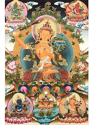 Five Forms of Manjushri - Superfine Tibetan Buddhist Thangka