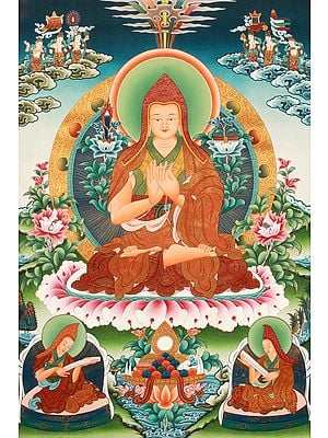 (Tibetan Buddhist) Superfine Tsongkhapa with Wisdom Sword and Scripture