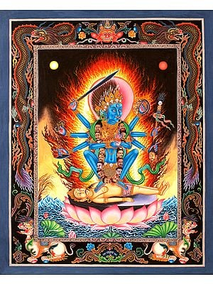 Superfine Mother Goddess Kali in Newari Style(Tibetan Buddhist Thangka Without Brocade)