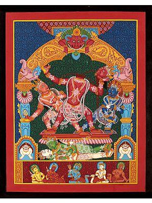 Goddess Mahavidya Chhinnamasta in Newari Style (Brocadeless Thangka)