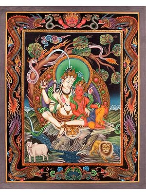 Superfine Shiva Parvati (Tibetan Buddhist Thangka Painting - Without Brocade)