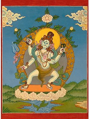 Dancing Shiva - Small Tibetan Buddhist Thangka Painting without Brocade