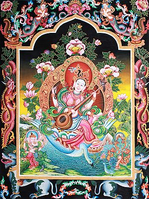 The Radiant Devi Sarasvati In Her Elements - Brocadeless Thangka