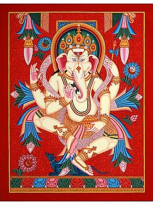 Dancing Ganesha  in Newari Style (Thangka Without Brocade)