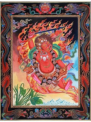 Superfine Two-Armed Mahakala -Tibetan Buddhist Thangka Without Brocade