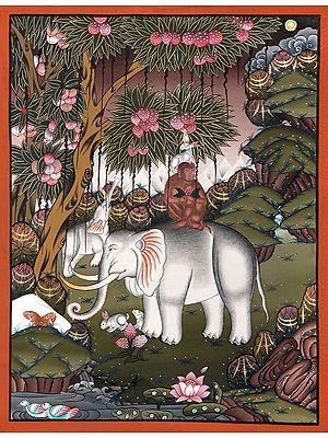The Banyan Tree And The Four Harmonious Brothers (Brocadeless Thangka)