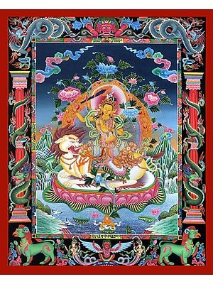 Superfine Tibetan Buddhist Deity Manjushri Seated on Lion - Brocadeless Thangka in Newari Style
