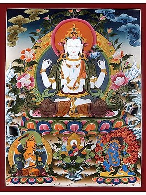 Superfine Four-Armed Avalokiteshvara (Super Large Chenrezig) - Tibetan Buddhist  Brocadeless Thangka