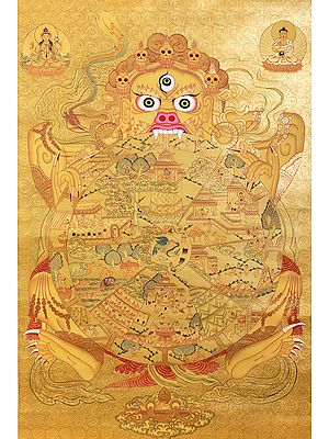 Superfine Tibetan Buddhist Wheel of Life - Brocadeless Thangka