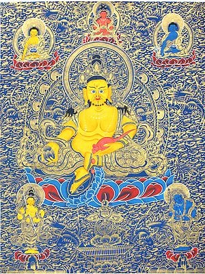 Kubera -The Tibetan Buddhist God of Wealth (Thangka Without Brocade)