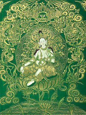 Tibetan Buddhist Saviour Goddess Green Tara - Brocadeless Thangka
