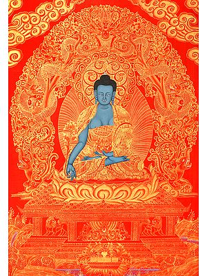 Tibetan Buddhist Deity Medicine Buddha - Brocadeless Thangka