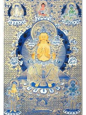 Tibetan Buddhist Deity Future Buddha Maitreya - Brocadeless Thangka