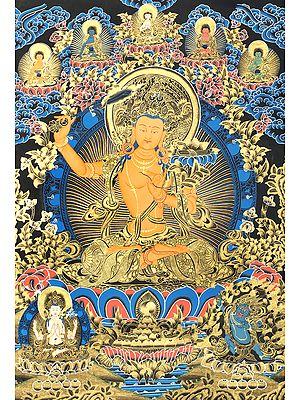 Gold-And-Cerulean Bodhisattva Manjushri