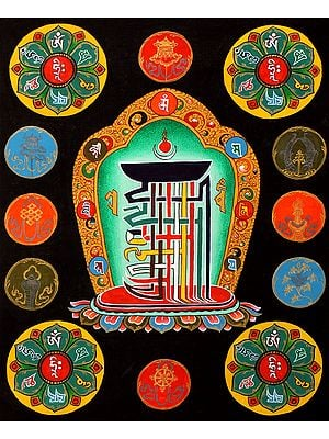 The Ten Syllables of Tibetan Buddhist Kalachakra Mantra - Thangka Without Brocade