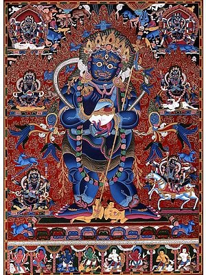 Two Armed Standing Mahakala - Superfine Brocadeless Thangka