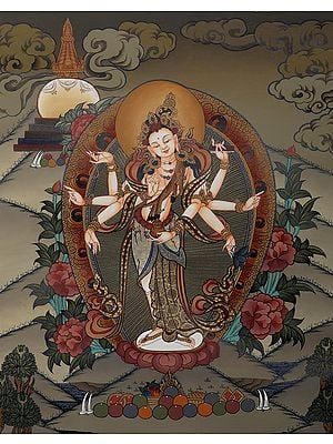The Graceful Bodhisattva Gunayin, Viewed Over The Himalayas - Brocadeless Thangka