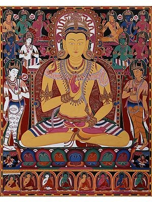 The Buddha Amoghasiddhi, Surrounded By The Dhyani Buddhas (Tibetan Buddhist Brocadeless Thangka)