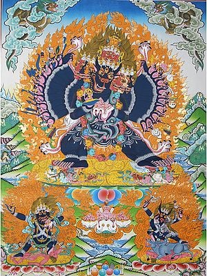 Tibetan Buddhist Yamantaka Ekavira (Vajrabhairava) - Large Brocadeless Thangka