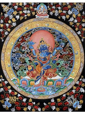 Jambhala with Consort - Tibetan Buddhist (Brocadeless Thangka)
