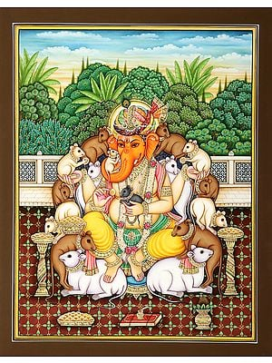 Rajasthani Turbaned Ganesha Surrounded by the Happy Rats