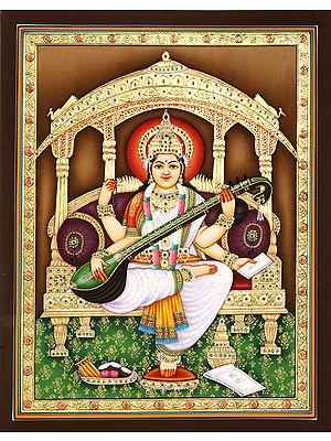Scarlet-Haloed Devi Sarasvati