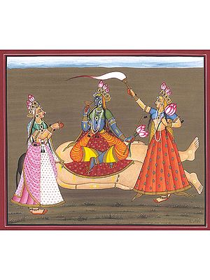 Tantric Devi Series - The Goddess on a Corpse Flanked by Her Companions