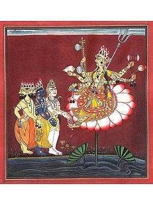 The Devi is Venerated by Brahma, Vishnu and Shiva