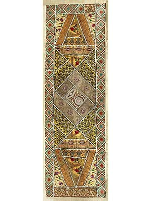 Ivory-Gold Hand-Crafted Table Runner from Gujarat with Up-cycled Embroidery Patchwork